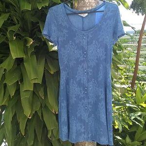 Vintage Marian & Maral Blue Floral Skater Dress